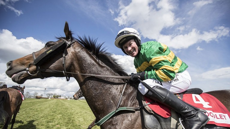 Last hurrah: Nina Carberry announces her retirement from the saddle after victory aboard Josies Orders in the cross-country chase at Punchestown