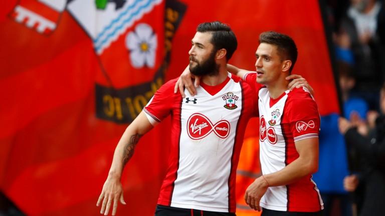 Dusan Tadic and Charlie Austin celebrate Southampton's goal