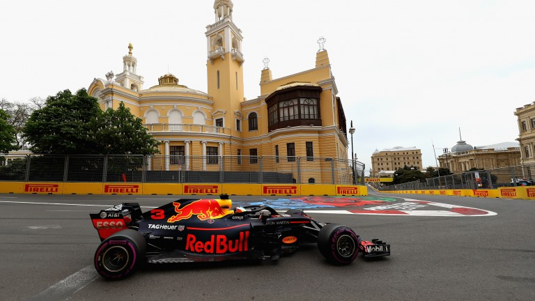 Daniel Ricciardo in action during Baku qualifying