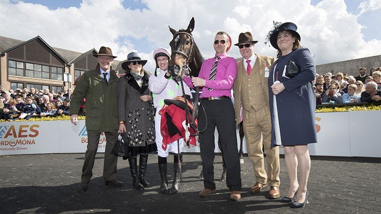 Mighty mare: connections pose for a photo after Benie Des Dieux confirmed her Cheltenham Festival form with Apple's Jade, beating her old rival again in the Irish Stallion Farms EBF Annie Power Mares Champion Hurdle under Paul Townend