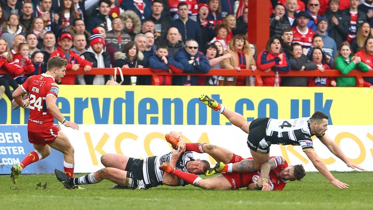 Hull KR (in red) get physical with arch rivals Hull FC
