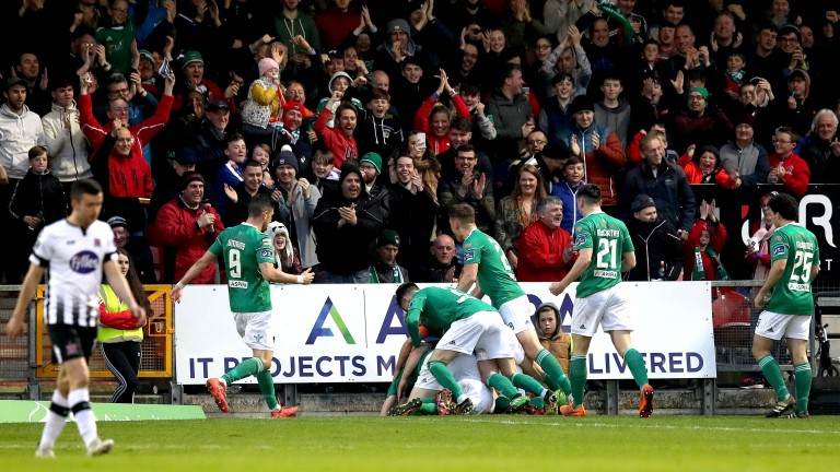 Cork celebrate Gearoid Morrissey scoring agfainst Dundalk