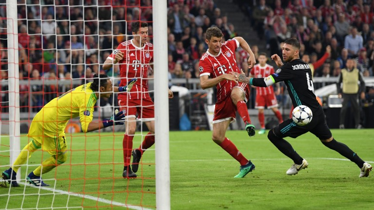 Thomas Muller goes close for Bayern against Real Madrid in the first leg