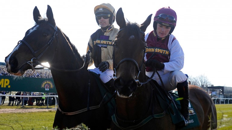 Ruby Walsh (left) on On His Own and sister Katie on Seabass inspect the first fence before the 2013 Grand National, just days after this interview was first published