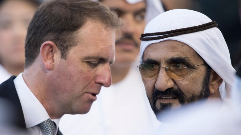 Sheikh Mohammed (right) with Charlie Appleby, trainer of three Darley homebreds by Darley sires with leading chances in the 1,000 and 2,000 Guineas