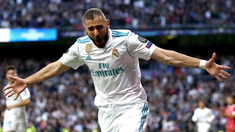 Karim Benzema of Real Madrid celebrates against Bayern Munich