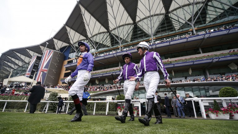 At the top of their game: Gerald Mosse, Ryan Moore and Seamie Heffernan head out of the weighing room at Ascot