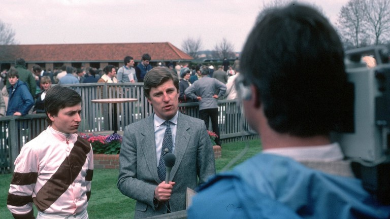 Steve Cauthen being interviewed by Brough Scott in 1984