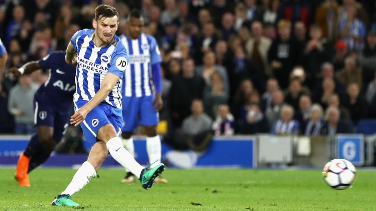 Pascal Gross scores Brighton's penalty in their 1-1 draw with Tottenham