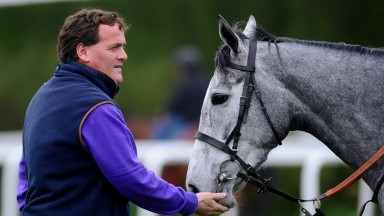 MARLBOROUGH, ENGLAND - APRIL 22: Richard Hannon with Sky Lantern during a visit to Richard Hannon's Herridge Racing Stables on April 22, 2014 in Marlborough, England. (Photo by Alan Crowhurst/Getty Images)