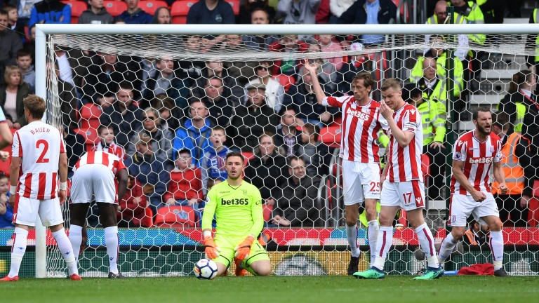Stoke keeper Jack Butland reacts to a goal