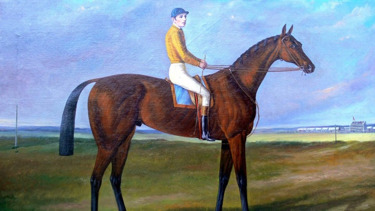 A portrait of Fred Archer on the unbeaten Ormonde at Newmarket