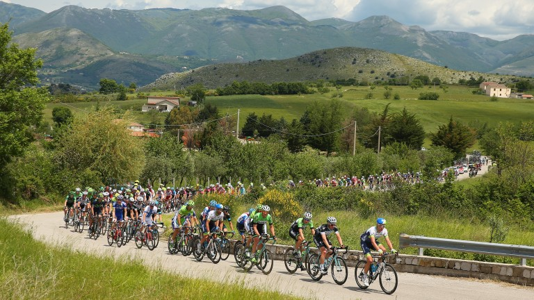 The peloton wind their way through the hills in the Giro d'Italia