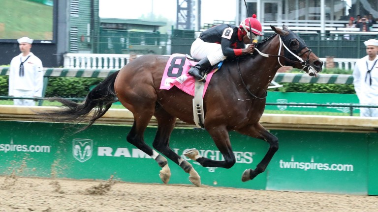 Notable landmark: Lookin At Lee (Ricardo Santana) scores at Churchill Downs to provide trainer Steve Asmussen with the 8,000th success of his career