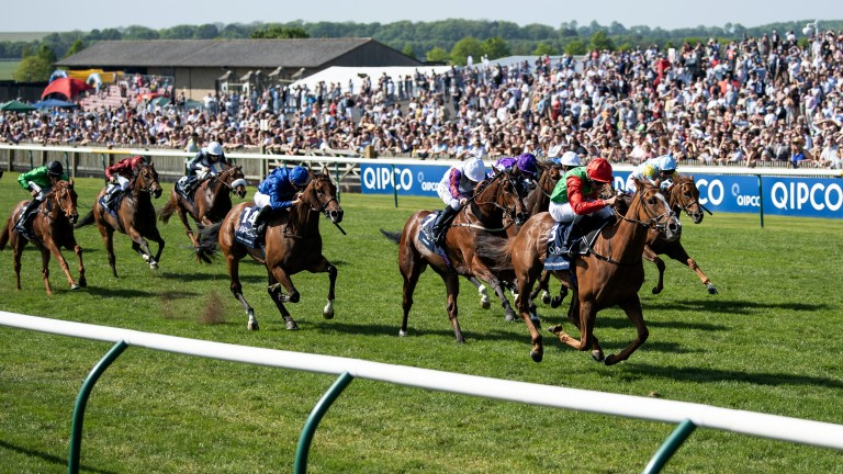 Shock winner: 66-1 shot Billesdon Brook swoops past the field in the 1,000 Guineas to become the biggest priced winner in the history of the Classic