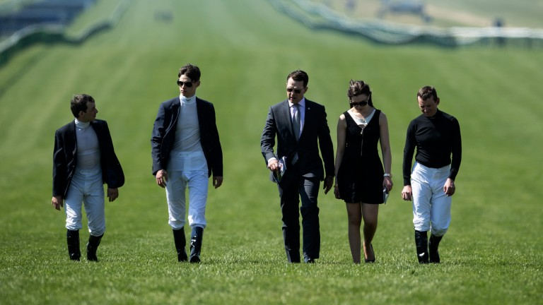 Dream team: (from left to right) Wayne Lordon, Donnacha O'Brien, Aidan O'Brien, Ana O'Brien and Seamie Heffernan walk the Rowley Mile