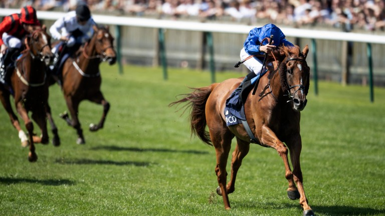 Easy peasy: Wuheida breezes to Dahlia Stakes success under William Buick