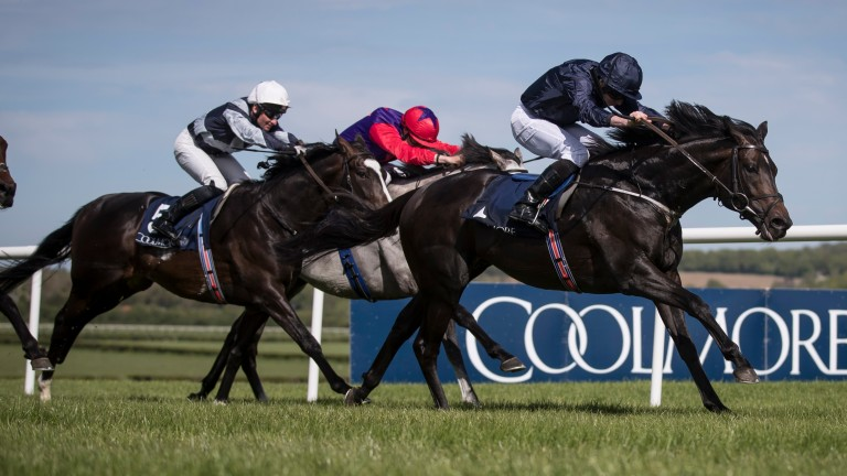 Cliffs Of Moher and Ryan Moore come from last to first to land the Group 2 Mooresbridge Stakes at Naas