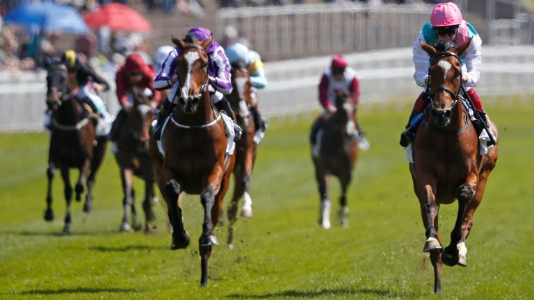 Enable (right): won the Cheshire Oaks en route to Epsom victory