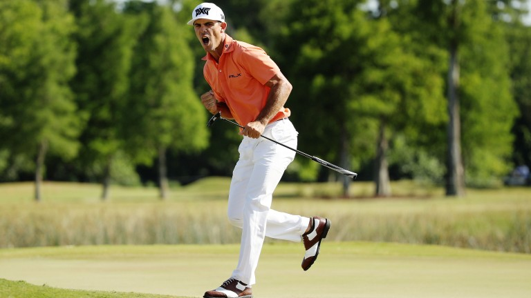 Billy Horschel reacts to a putt on the 18th hole at TPC Louisiana