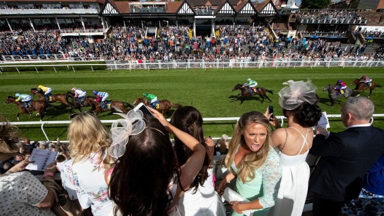 The crowd on the opening day of the Chester May meeting