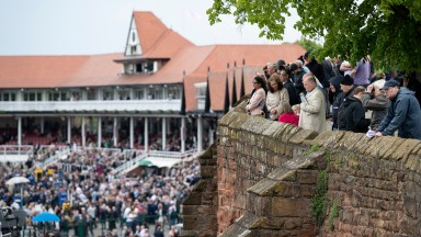 Watching the races from the city walls at Chester