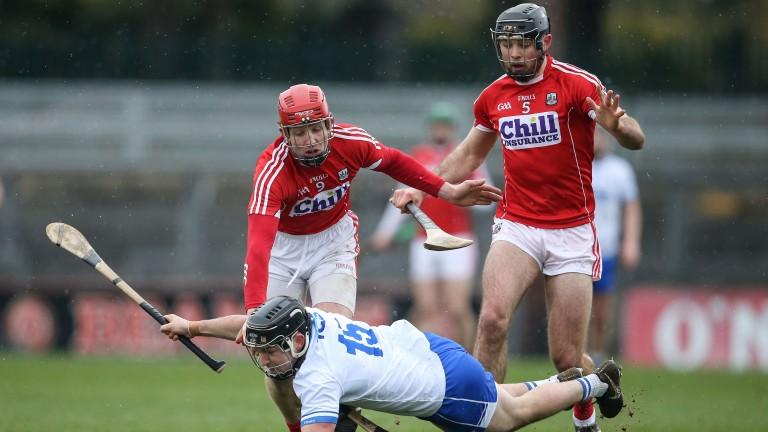 No way past: Cork defenders Bill Cooper and Christopher Joyce