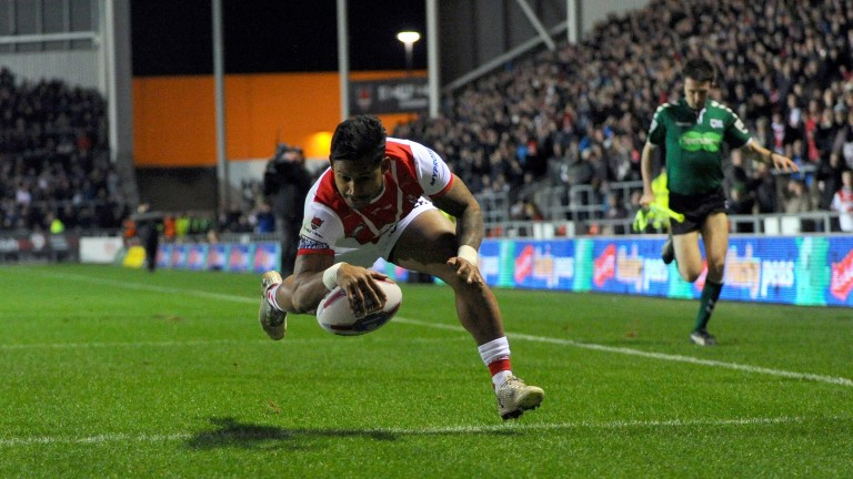St Helens ace Ben Barba scores the first touchdown against Castleford in February