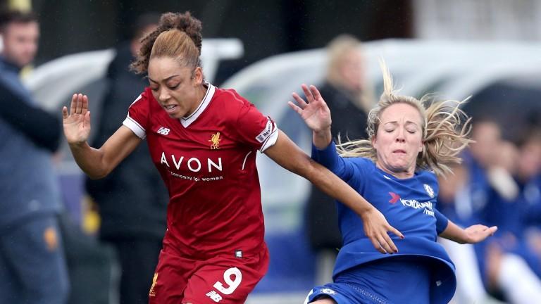 Gemma Davison of Chelsea Ladies fouls Jess Clarke of Liverpool Ladies