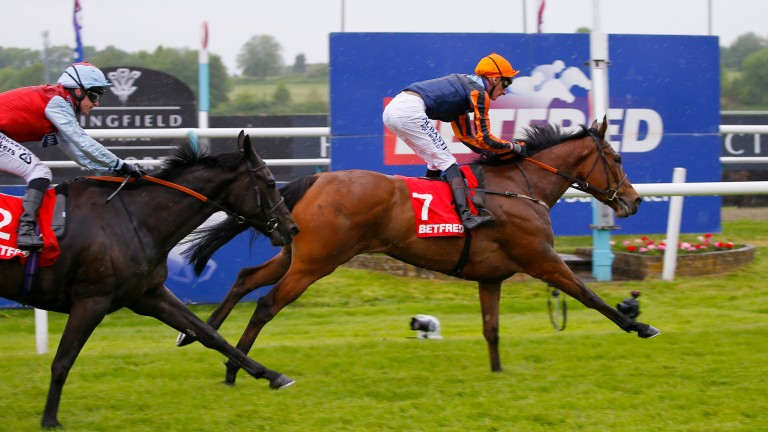 Perfect Clarity scoots clear in the Listed Betfred Mobile Oaks Trial Fillies' Stakes at Lingfield