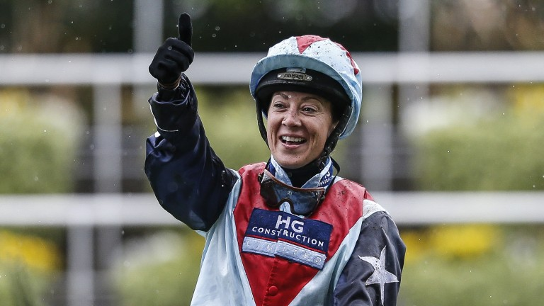 Hayley Turner: thumbs up and all smiles after a recording a big-race win
