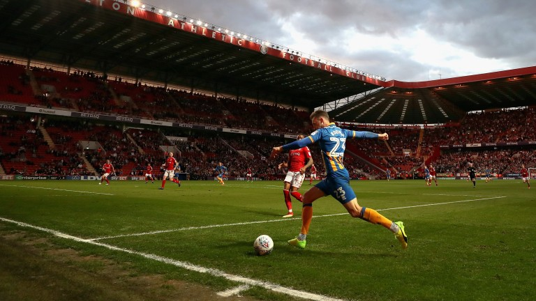Alex Rodman of Shrewsbury in action against Charlton