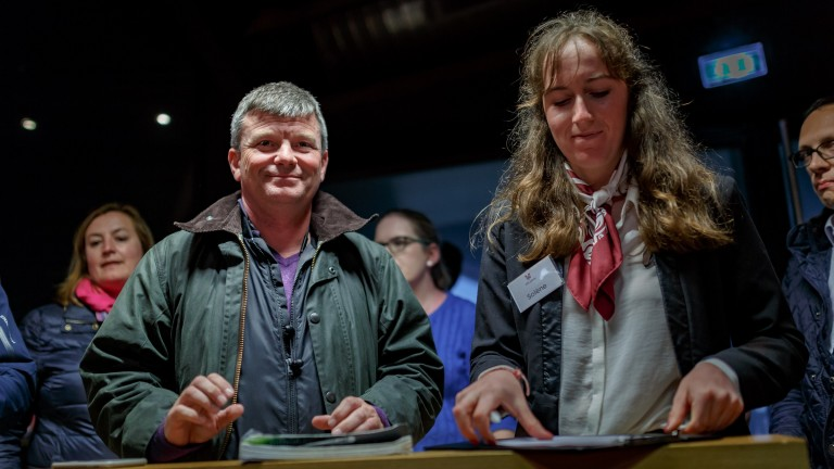 Jamie McCalmont after signing the docket at €825,000 for the sale-topping Scat Daddy colt