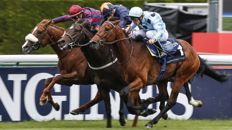 Olmedo and Cristian Demuro (nearest) get the better of Hey Gaman and Dice Roll (left) to win the Poule d'Essai des Poulains  (Photo by Alan Crowhurst/Getty Images)