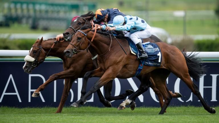 Olmedo (nearside) lands the Poule d'Essai des Poulains at Longchamp