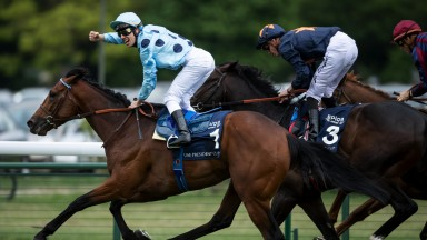 Demuro's done it: a punch of the air from Cristian Demuro as he and Olmedo win a thrilling French 2,000 Guineas from Hey Gaman and Dice Roll (right)