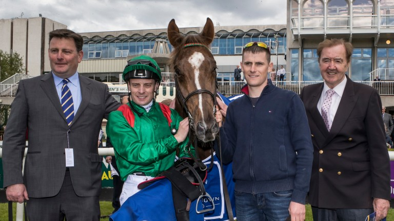 Pat Downes, Declan McDonogh and Dermot Weld with Hazapour after winning the Derrinstown Derby Trial