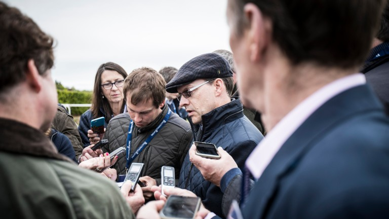 Aidan O'Brien takes questions from the press at Ballydoyle