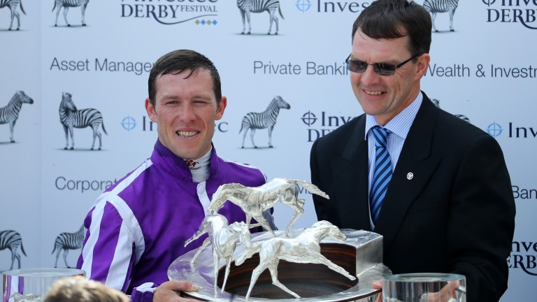 Padraig Beggy with O'Biren after landing last year's Derby on Wings Of Eagles