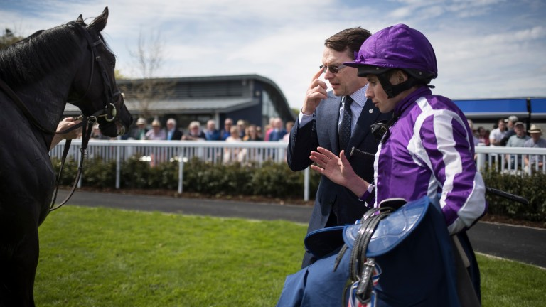 Aidan O'Brien and Ryan Moore admire Van Beethoven after his victory at Naas