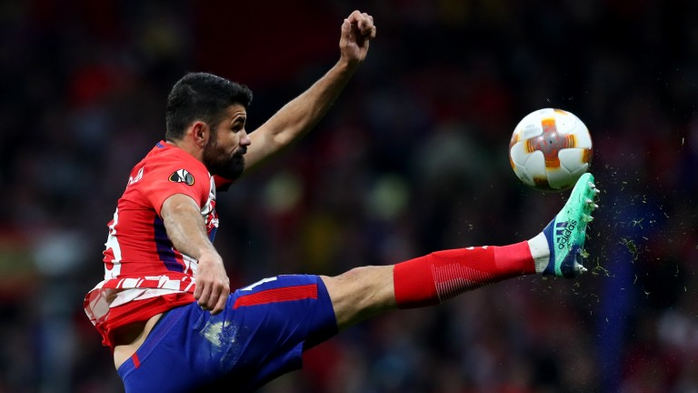 Diego Costa of Atletico Madrid in semi-final action against Arsenal