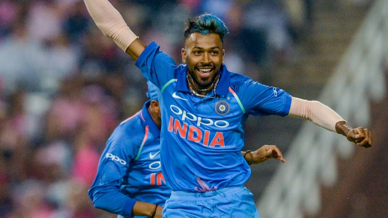 Hardik Pandya celebrates a wicket for India