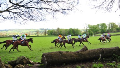 Action from the second division of the four-year-old maiden at Loughanmore won by Tribesmans Glory