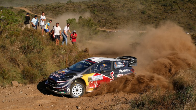 VILLA CARLOS PAZ, ARGENTINA - APRIL 27:  Sebastien Ogier of France and Julien Ingrassia of France compete in their M-Sport Ford WRT Ford Fiesta WRC during Day Two of the WRC Argentina on April 27, 2018 in Villa Carlos Paz, Argentina.  (Photo by Massimo Be