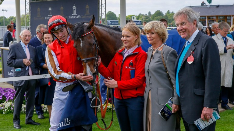 Give And take - James Doyle with owners Mr &Mrs Nicholas JonesThe Tattersalls Musidora Stakes (Group 3) York 16/5/2018©cranhamphoto.com