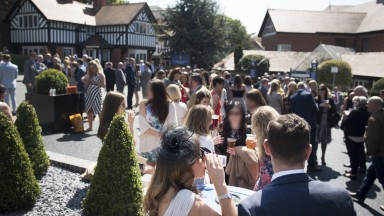 Racegoers outside the Watergate pub in Chester. Two-thirds of those who go racing list socialising as their principal reason for doing so