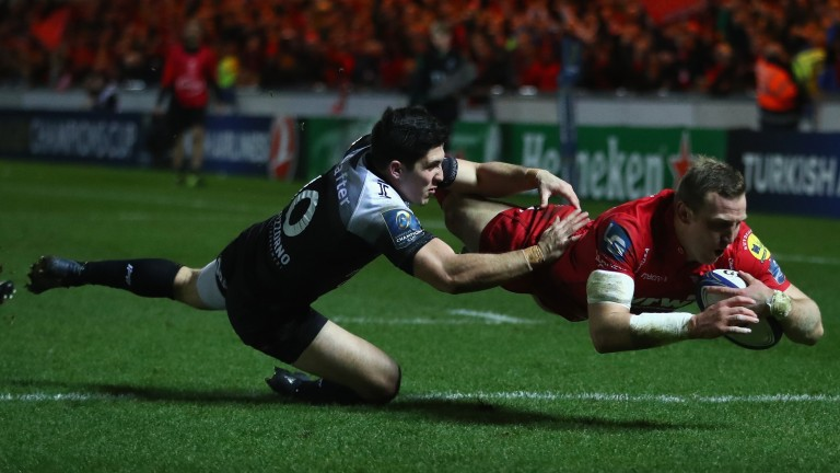 Scarlets centre Hadleigh Parkes scores against Toulon in the European Champions Cup