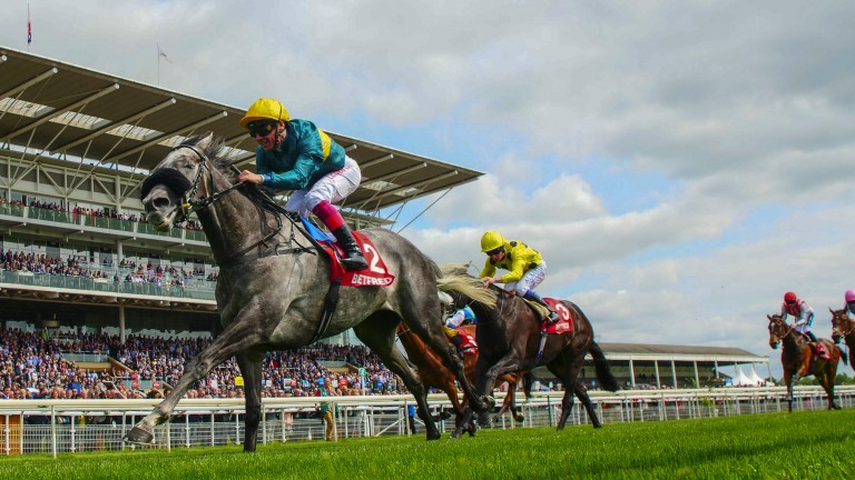 Different class: Coronet strides ahead of Horseplay to land the Group 2 Middleton Stakes