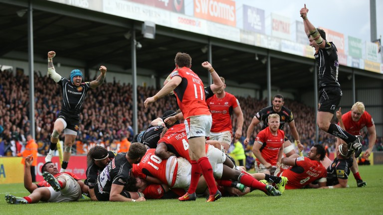 Exeter celebrate Sam Simmonds' winning try in last year's semi-final against Saracens