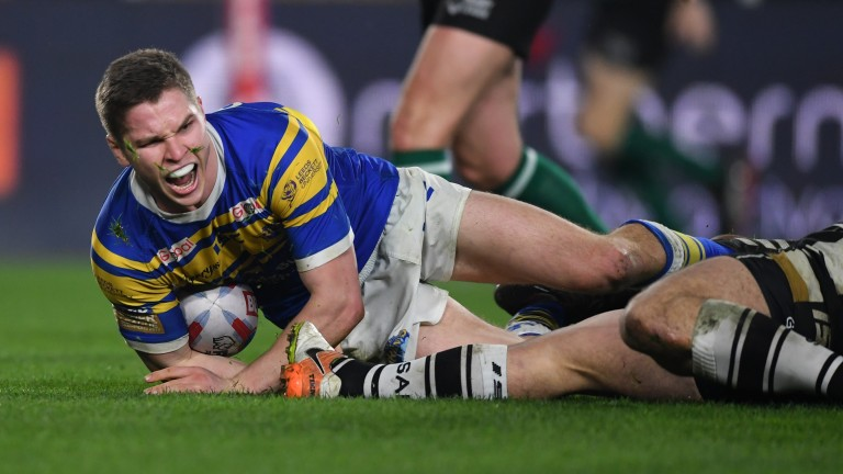 Matt Parcell scores a second-half try in Leeds' Super League clash with Hull last month